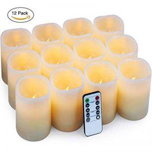 Bougies à LED Bougies à piles Bougies sans flamme Bougies électroniques 12pack (D: 7.6cm XH: 10.2cm) Bougies de pilier en cire ivoire avec télécommande et minuterie Maison Fête d'anniversaire decoration mariage de la marque Hausware image 0 produit