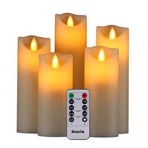 """Bougies led, Bougies sans flamme, à piles. Lot de 5 bougies style cierges de : 4"""" 5"""" 6"""" 7"""" 8"""" Couleur Ivoire, en véritable cire. Avec vacillement des flammes très réaliste, télécommande avec 10 menus de fonction, minuterie de 24 heures de la marque HANZIM image 0 produit"""