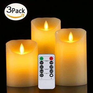 Bougies LED de Daby, ensemble de 3 bougies décoratives (10cm, 12.8cm, 15.2cm), bougie sans flamme de 300 heures avec télécommande à 10 boutons. Flamme LED clignotante, faite de vraie cire couleur ivoi de la marque Da by image 0 produit