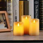 Bougies LED de Daby, ensemble de 3 bougies décoratives (10cm, 12.8cm, 15.2cm), bougie sans flamme de 300 heures avec télécommande à 10 boutons. Flamme LED clignotante, faite de vraie cire couleur ivoi de la marque Da-by image 4 produit