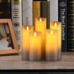 Bougies LED de Daby, ensemble de 5 bougies décoratives (14 cm, 15 cm, 16 cm, 18 cm, 20 cm), bougie sans flamme de 300 heures avec télécommande à 10 touches. Flamme LED clignotante, faite de vraie cire de la marque Da by image 4 produit