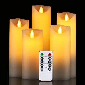 Bougies LED de Daby, ensemble de 5 bougies décoratives (14 cm, 15 cm, 16 cm, 18 cm, 20 cm), bougie sans flamme de 300 heures avec télécommande à 10 touches. Flamme LED clignotante, faite de vraie cire de la marque Da by image 0 produit