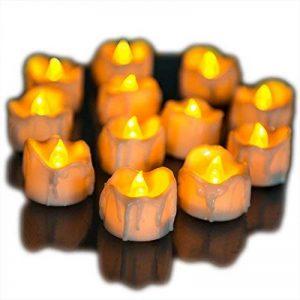 Bougies à LED Lot DE 12 Lumières de Thé à Piles sans Flammes avec des Larmes lumieux Clignotants - Bougies à Piles-Lampes à Bougie de la marque Little ants image 0 produit