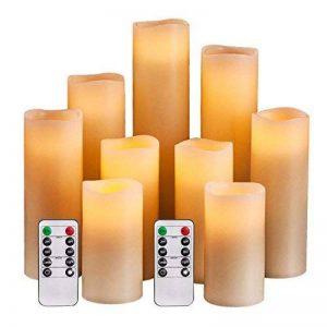 Bougies à Led,Lot de 9 Bougies sans flamme, 10,2 cm 12,7 cm 15,2 cm 17,8 cm 20,3 cm 22,9 cm Bougies d'extérieur à piles à LED scintillante Bougies pilier avec télécommande et minuteur (Ivoire) de la marque HANZIM image 0 produit