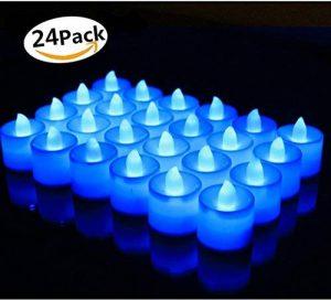 Bougies LED, Morbuy Flamme Vacillante 24PC Lumière Piles Alimentation Proposition de Mariage Romantique Anniversaire Décoration de Halloween Maison Mariage Anniversaire Soirée Fête (Bleu) de la marque Morbuy image 0 produit