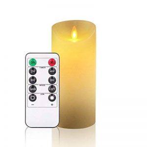 Bougies sans flamme,Ivoire sans flamme de décoration de bougies piliers (15,2 cm). Realistic Flamme LED Vacillante en cire véritable couleur ivoire. Télécommande avec fonction minuteur pour nouvel an (1*1, Ivory) de la marque Antizer image 0 produit