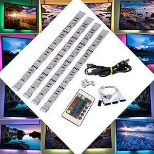 BRTLX LED TV Rétroéclairage Bande Kit D'éclairage 4 * 50cm Pour HDTV Cinéma Maison Accent Éclairage USB Alimenté RGB 5050 SMD Multicolore Avec 24 Clé Télécommande de la marque BRTLX image 0 produit