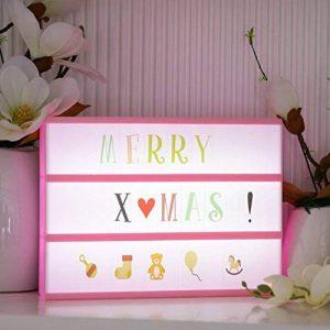 Cinéma Boîte A4 Rose - Gledto LED Boîte Lumineuse avec 110 Images d'Animaux + 90 Lettres Colorées + 95 Lettres Noires en Script - Enseigne Lumineuse Décoration pour Noël / Mariage / Anniversaire / Décorer la Chambre de la marque Gledto image 0 produit
