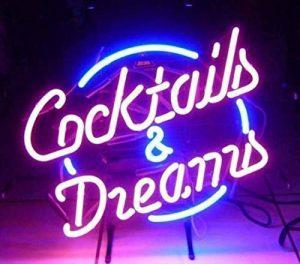 Cocktails et Dreams réel Verre Neon Light Sign Home Beer Bar Pub Recreation salle salle de jeu Windows Garage Mur Store Grande plaque (43,2x 35,6cm) de la marque LiQi image 0 produit