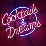 Cocktails et Dreams réel Verre Neon Light Sign Home Beer Bar Pub Recreation salle salle de jeu Windows Garage Mur Store Grande plaque (43,2x 35,6cm) de la marque LiQi image 1 produit