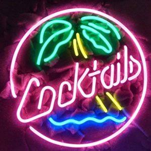 Cocktails palmier en verre véritable Neon Light Sign Home Beer Bar Pub Recreation salle salle de jeu Windows Garage Mur Store Grande plaque (43,2x 35,6cm) de la marque LiQi image 0 produit
