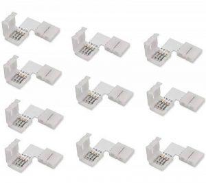Cooligg 10 PCS Connecteurs de bande LED en forme de L | d'angle de Connecteur Rapide 4 Pin | LED Bande de Raccord 10mm avec clip pour RGB SMD 5050 3528 2835 led ruban (4 broches 10mm) de la marque cooligg image 0 produit