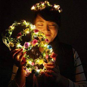 cosoon 4pc LED fleurs Couronne Bandeau–Couronnes de Fleurs Guirlande Boho pour Festival Mariage, couronne Tête Bijoux avec LED Décor T013 de la marque COSOON image 0 produit