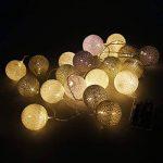 Coton Boule lumières Guirlande lumineuse 20LED Guirlande lumineuse à piles AA pour décoration de jardin de mariage par Rosenice, série (Gris) de la marque ROSENICE image 3 produit