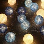 Couleur Rotin Billes Guirlande Lumineuse , Chickwin Noël & Party Guirlandes Décoration 20LEDs Lanternes Forme Série De Lampe 2.2m/2.5m Long Belle Décoration (Boule de coton bleu) de la marque Chickwin image 4 produit