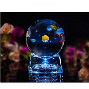 Cristal Système solaire - systeme solaire enfant Avec la base de lampe LED,clair 80mm cristal boule pour maison et decoration,cadeau ami,cadeau pour les enfants et cadeau petit ami de la marque Excerando image 0 produit