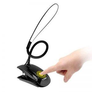 DBF lampe de lecture, Eye-caring livre léger, flexible, facile à clipser lampe de bureau avec port de chargement USB, 3niveaux de luminosité lumières de lecture pour lire au lit et support de lecture, etc., contrôle tactile, Noir de la marque DBF image 0 produit