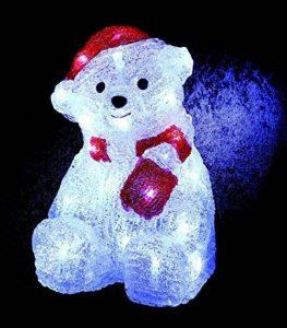DECO NOËL - OURSON lumineux - effet givré - 30 LED Blanc froid de la marque FEERIC LIGHTS & CHRISTMAS image 0 produit