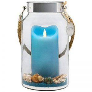 Dekovita idée cadeau 30cm en verre décoratif LED véritable bougie bleu en cire avec flamme en mouvement et sable déco Pâques Fête des Mères Anniversaire de la marque DEKOVITA image 0 produit