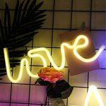 dubens LED Neon Veilleuse, Veilleuse Lampe Décoration créative, intérieur et extérieur Decor Lampe, batterie/USB Powered, pour chambre à coucher Décoration Fête de Noël Mariage Home Love Warmes Weiß de la marque DUBENS image 4 produit