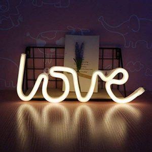 dubens LED Neon Veilleuse, Veilleuse Lampe Décoration créative, intérieur et extérieur Decor Lampe, batterie/USB Powered, pour chambre à coucher Décoration Fête de Noël Mariage Home Love Warmes Weiß de la marque DUBENS image 0 produit