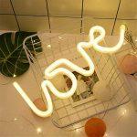 dubens LED Neon Veilleuse, Veilleuse Lampe Décoration créative, intérieur et extérieur Decor Lampe, batterie/USB Powered, pour chambre à coucher Décoration Fête de Noël Mariage Home Love Warmes Weiß de la marque DUBENS image 3 produit