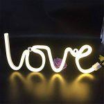 dubens LED Neon Veilleuse, Veilleuse Lampe Décoration créative, intérieur et extérieur Decor Lampe, batterie/USB Powered, pour chambre à coucher Décoration Fête de Noël Mariage Home Love Warmes Weiß de la marque DUBENS image 1 produit