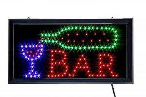 Ducomi® - Enseigne lumineuse LED avec inscription,panneau vintage avec néons lumineux à intermittence,idéal pour les magasins, pubs, pizzerias ou maison-48x 25x 2,5cm Bar de la marque Ducomi image 0 produit