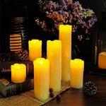 Eldnacele Ensemble de 6 bougies sans gouttes avec minuterie, batterie de cire vraie, hors-minuterie incluse, couleur ivoire et flammes jaune ambre clignotant pour les mariages et les décorations de Noël de la marque Eldnacele image 1 produit