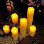 Eldnacele Ensemble de 6 bougies sans gouttes avec minuterie, batterie de cire vraie, hors-minuterie incluse, couleur ivoire et flammes jaune ambre clignotant pour les mariages et les décorations de Noël de la marque Eldnacele image 2 produit