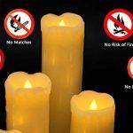Eldnacele Ensemble de 6 bougies sans gouttes avec minuterie, batterie de cire vraie, hors-minuterie incluse, couleur ivoire et flammes jaune ambre clignotant pour les mariages et les décorations de Noël de la marque Eldnacele image 4 produit
