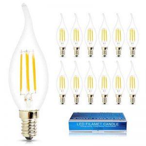 ELINKUME 12X E14 Bougie LED 4W Forme Bougie COB Ampoule Lampe Blanc Chaud 450LM Super Lumineux Flame Tip LED 220~240V de la marque ELINKUME image 0 produit