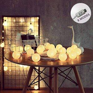 ELINKUME Guirlandes Lumineuses, 20LED Blanc Boules de Coton 8 Modes de Lumière de la Chaîne 4,0M Lampe Féerique Belle Décoration Intérieure éclairage (interface USB, éclairage blanc chaud) de la marque ELINKUME image 0 produit