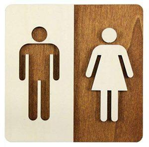 Enseigne Bois Toilette WC Toilettes Plaque de Porte Homme et Femme Pictogramme (14x 14cm) de la marque Manschin Laserdesign image 0 produit
