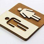 Enseigne Bois Toilette WC Toilettes Plaque de Porte Homme et Femme Pictogramme (14x 14cm) de la marque Manschin Laserdesign image 1 produit
