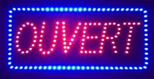 Enseigne lumineuse à LED Ouvert rouge/bleu 48x24x2.5cm de la marque ADE LIGHT image 0 produit