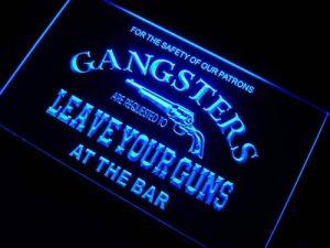 Enseigne Lumineuse m099-b Gangsters Leave Your Guns at Bar Neon Sign de la marque AdvPro Sign image 0 produit