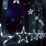Étoiles Lumières de Rideaux, 12 Étoiles 138 Leds Guirlande lumineuse Eclairage Décoration pour Noël, Fête, Vacances, Mariages, Fenêtres, Rideaux de la marque HanLuckyStars image 1 produit