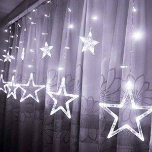 Étoiles Lumières de Rideaux, 12 Étoiles 138 Leds Guirlande lumineuse Eclairage Décoration pour Noël, Fête, Vacances, Mariages, Fenêtres, Rideaux de la marque HanLuckyStars image 0 produit