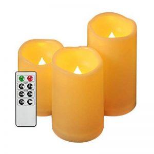 EverBrite Lot de 3 Bougies à LED Sans Flamme 2 Modes d'Eclairage avec Télécommande de 8 Touches Decoration pour Table Soirée Anniversaire Mariage Fête (Jaune Claire) de la marque EverBrite image 0 produit