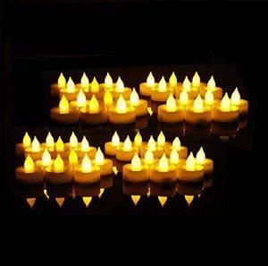 EverBrite Lot de 48 Bougies à LED Sans Flamme Decoration pour Table Soirée Anniversaire Mariage (Jaune Claire) de la marque EverBrite image 0 produit