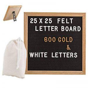 Gadgy ® Feutre Letter Board 25x25 cm | Retro Tableau D'affichage Rainure de Bois | Avec 340 Lettres & Chiffres Blanc et Couleur Or, Support et Sac de la marque Gadgy image 0 produit
