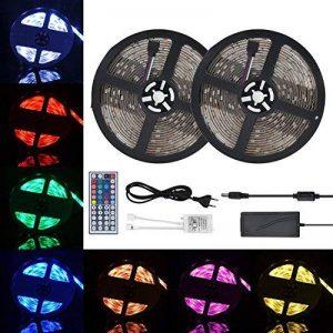 GEEDIAR 10M LED Rubans à LED Bande Lumineuse Flexible Avec Télécommande RGB LED Ruban IP65 Etanche 12V 5A LED Guirlande Lumineuse Autocollant Cuttable LED Strip Fonction de Mémoire de la marque GEEDIAR image 0 produit