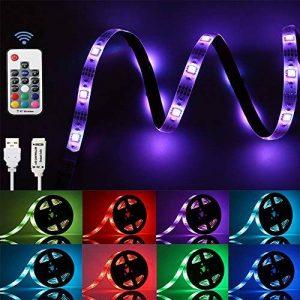 GLIME Ruban LED Lumieuse 2M IP65 6 Modes 20 Couleurs 5050 RGB Bande à LED Flexible Etanche à Télécommande USB Câble pour Déco Soirée Anniversaire Fête… de la marque GLIME image 0 produit