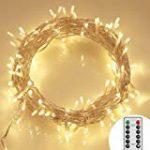 Guirlande Cuivre Lumineuse Noël lumière LED Fée cordes Lumières Decorative, URAQT 20M 200 LED Lights étoilées pour Outdoor, jardin, mariage, fête, accueil avec télécommande de la marque URAQT image 1 produit