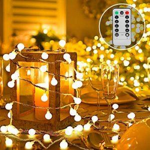 Guirlande Lumineuse 10M 80 Ampoules, 8 Modes avec télécommande, IP44 étanche Guirlande lumineuse LED à Piles Petites Boules Blanc Chaud Décoration Romantique pour Mariage Anniversaire Soirée Party Décor Chambre Maison Jardin Terrasse de la marque Renfox image 0 produit