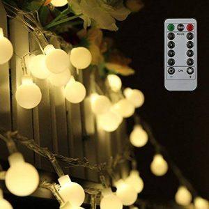 Guirlande lumineuse 10M 80 ampoules, 8 Modes avec télécommande,étanche IP44, Tomshine Guirlande lumineux exterieur, 0.6W LED à Piles Petites Boules, Alimenté par batterie (Blanc Chaud) [Classe énergétique A+] de la marque Tomshine image 0 produit