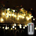 Guirlande lumineuse 10M 80 ampoules, 8 Modes avec télécommande,étanche IP44, Tomshine Guirlande lumineux exterieur, 0.6W LED à Piles Petites Boules, Alimenté par batterie (Blanc Chaud) [Classe énergétique A+] de la marque Tomshine image 3 produit
