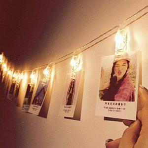 Guirlande Lumineuse avec Pince à Photo 16 LEDs 4,5 M Alimenté par Batterie pour Fêtes Noël Accrocher Photos, Notes, Illustrations, Mémos de la marque Glamouric image 0 produit
