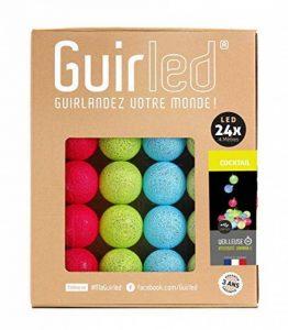 Guirlande lumineuse boules coton LED USB - Chargeur double USB 2A inclus - 3 intensités - 24 boules - Cocktail de la marque GuirLED image 0 produit